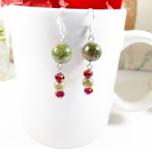 Picture Jasper & Red Czech Crystal Earrings